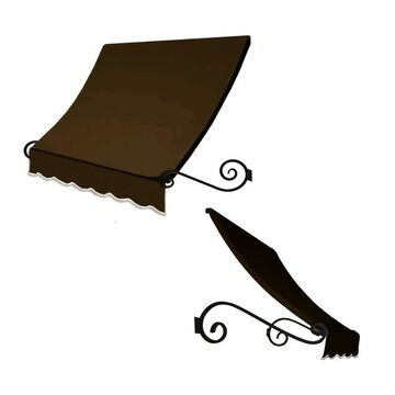 Awntech Charleston 88.5-in Wide x 24-in Projection Brown Solid Crescent Window/Door Fixed Awning