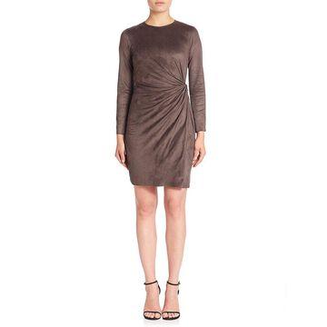 Natori Womens Knot Faux Wrap Dress