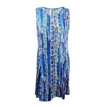NY Collection Women's Plus Size Geo-Print A-Line Dress - Blue