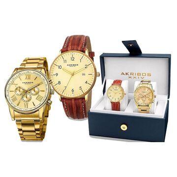 Akribos XXIV Men's Swiss Quartz Multifunction Gold-Tone Strap/Bracelet Watch Set - Gold (Gold-tone)