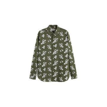 MANGO MAN - Regular fit floral print shirt khaki - XS - Men