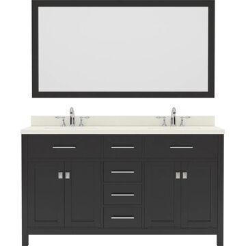Virtu USA Caroline 60-in Double Bath Vanity in Espresso with Dazzle White Top and Round Sink with Brushed Nickel Faucet and Mirror in Brown