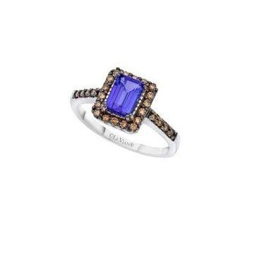 Chocolatier Blueberry Tanzanite, Chocolate Diamonds and 14K Vanilla Gold Ring