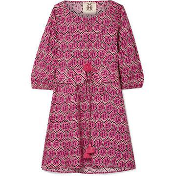 Figue - Jules Tasseled Printed Cotton-voile Mini Dress - Pink