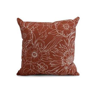 Simply Daisy, 26 x 26 Inch, Zentangle 4, Floral Print Pillow, Red Orange