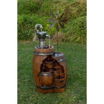 Alpine Pump and Barrel Tiered Fountain w/ Windmill Spinner, 39 Inch Tall