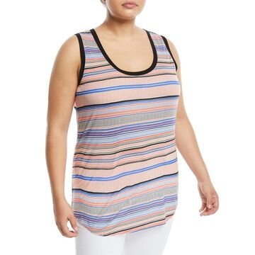 Panama-Striped Scoop-Neck Tank, Plus Size