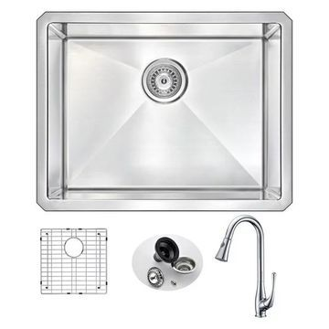 ANZZI Vanguard Undermount 23 In. Single Bowl Kitchen Sink w/ Singer Fa