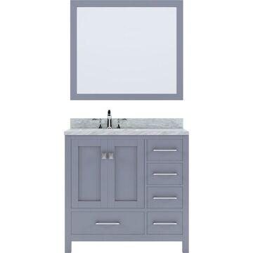 Virtu USA Caroline Avenue 36-in Gray Undermount Single Sink Bathroom Vanity with Italian Carrara White Marble Top (Mirror and Faucet Included)