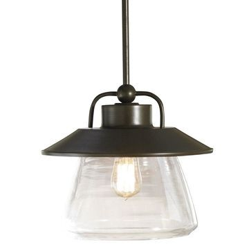 allen + roth Bristow Specialty Bronze Single Traditional Clear Glass Globe Pendant Light
