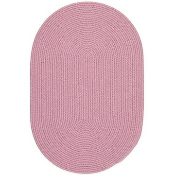 HB08R060X096 5 x 8 in. Happy Braids Solid Pink Oval Rug