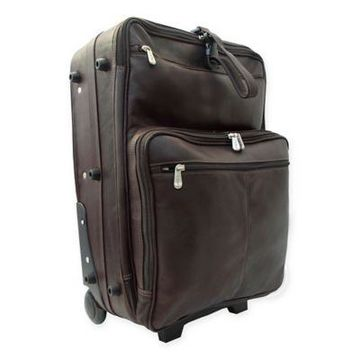 Piel Leather Classic Wheeled Traveler Luggage in Chocolate