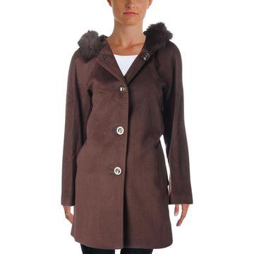 Ellen Tracy Womens Winter Wool Blend Car Coat