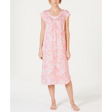 Batik Paisley-Print Short-Sleeve Knit Nightgown