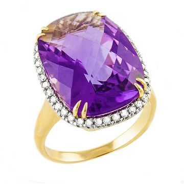 14k Yellow Gold 4 1/2 ct. Amethyst and Diamonds Ring by Beverly Hills Charm - Purple (7)