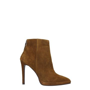 Lola Cruz High Heels Ankle Boots In Leather Color Suede