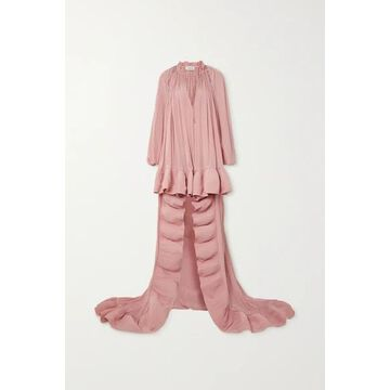 Lanvin - Cape-effect Embellished Ruffled Crepe Gown - Pink