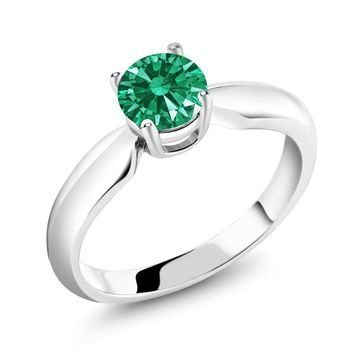 0.84 Ct Green 925 Sterling Silver Ring Made With Swarovski Zirconia