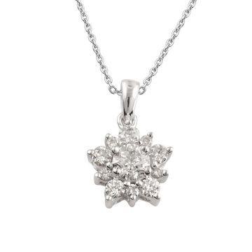 Divina Sterling Silver 1/2ct TDW Diamond Flower Pendant