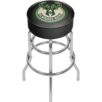 Trademark Gameroom Milwaukee Bucks Bar Stools Chrome Bar height (27-in to 35-in) Upholstered Swivel Bar Stool | NBA1000-MB