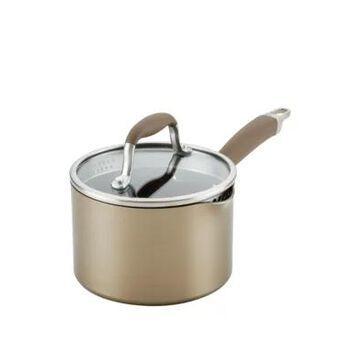 Anolon Advanced Home Hard-Anodized Nonstick Straining Saucepan, 2-Quart, Bronze -