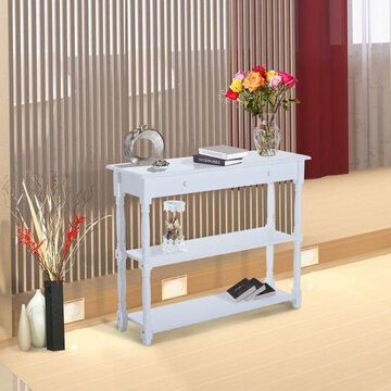 Wood Console Table White Modern Accent Shelf Stand Sofa Entryway Hall Furniture