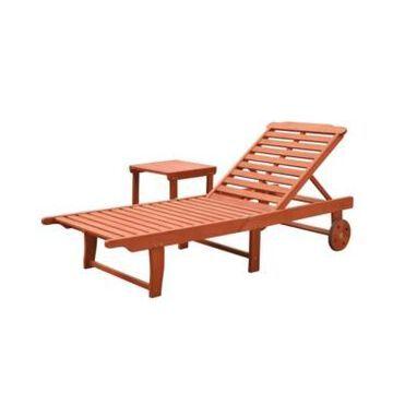 Vifah Malibu Outdoor Patio Wood 2-Piece Beach and Pool Lounge Set