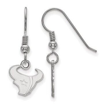 LogoArt Sterling Silver Rhodium-plated NFL Houston Texans Extra Small Dangle Earrings