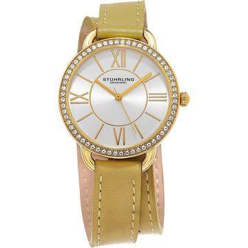 Stuhrling Original Women's Deauville Sport Quartz Crystal Gold Tone Double Wrap Leather Strap Watch (Stuhrling Original Women's Watch)