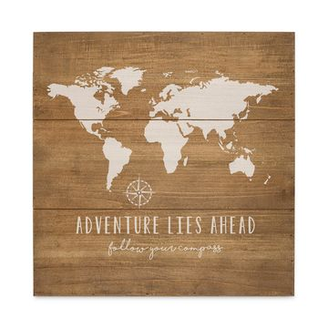 World Map Wood Sign