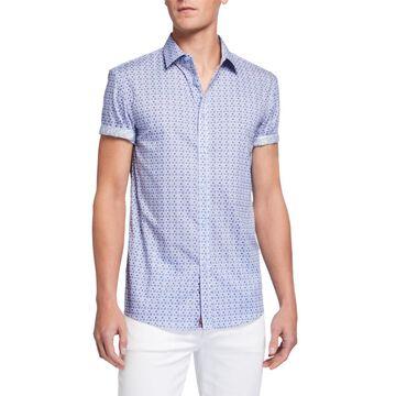 Men's Circle-Print Short-Sleeve Sport Shirt