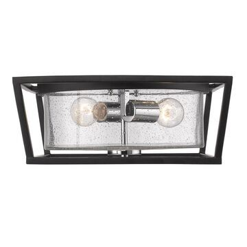 Golden Lighting Mercer 14.5-in Black Transitional Incandescent Flush Mount Light
