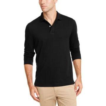 Club Room Men's Long-Sleeve Heathered Polo Shirt, Created for Macy's