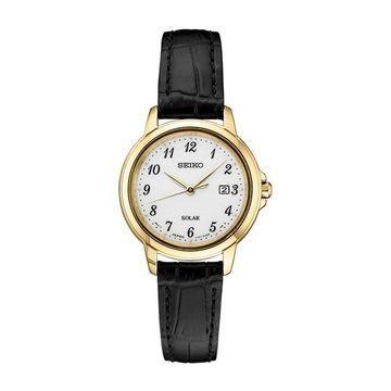 Seiko Women's Essentials Leather Solar Watch - SUT376