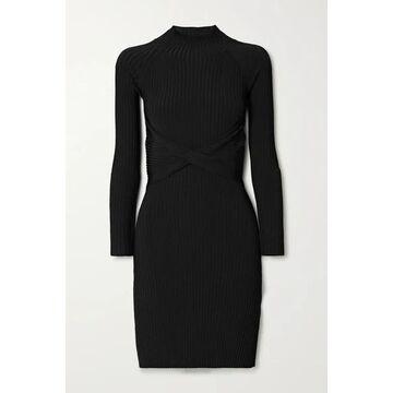 Dion Lee - Cutout Twist-front Ribbed-knit Mini Dress - Black