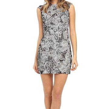 Aidan Mattox Women's Dress Black Size 8 Embroidered Lace Sheath