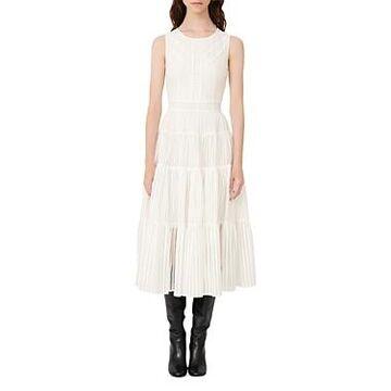 Maje Raya Sheer Pattern Tiered Dress