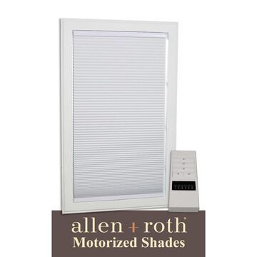 allen + roth Motorized Cellular Shade 23-in x 72-in White Blackout Cordless Motorized Cellular Shade Polyester   78619