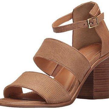 Corso Como Women's Sus Heeled Sandal, Camel Square Laser Leather/Camel Stripe Laser Leather, 10 M US