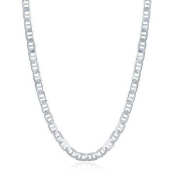 La Preciosa Sterling Silver Italian Rhodium Plated 100 4.1mm Flat Marina Chain (24 Inch)