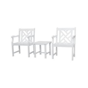 Vifah Bradley Outdoor Patio Wood 3-Piece Conversation Set