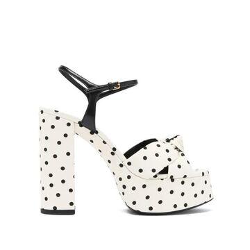 Saint Laurent - Bianca Knotted Polka-dot Platform Sandals - Womens - Cream Multi