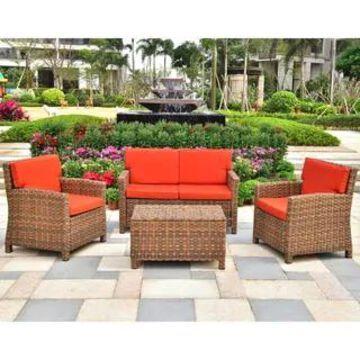 International Caravan Majorca 4-Piece Patio Conversation Set with Cushions