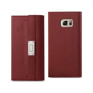 Samsung Galaxy Note 5 Genuine Leather Rfid Wallet Case And Metal Buckle Belt In Burgundy