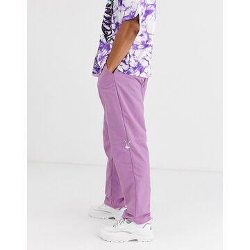 Jaded London nylon sweatpants in purple with toggles