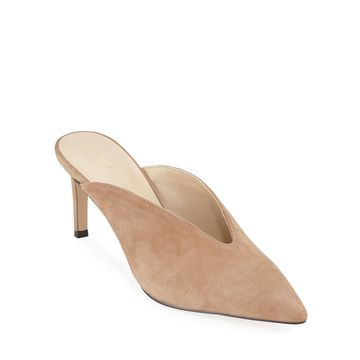 Suede Pointed-Toe Slide Mules