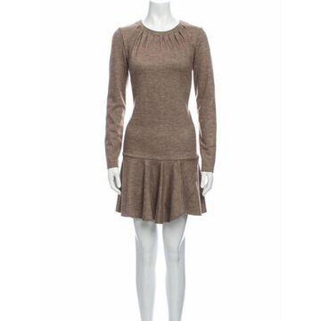 Crew Neck Mini Dress Brown