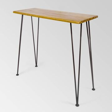 Denali Acacia Wood Rectangle Industrial Bar Table Teak - Christopher Knight Home