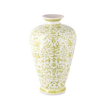 IMAX 75402 Otomi Lime Green Handpainted Vase