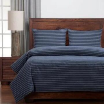 Siscovers Ticked Stripe Modern Farmhouse Duvet and Shams Set (Blue - California King - 3 Piece)